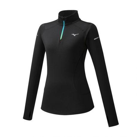 T-shirt Mizuno Warmalite Half Zip manche longue noir
