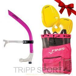 Pack Oxygène Rose : Tuba Frontal, Agility paddle, Ultra Mesh bag - Finis - Entrainement natation