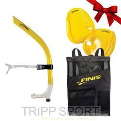 Pack Oxygène Gold : Tuba Frontal, Agility paddle, Ultra Mesh bag - Finis - entraine natation