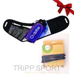 Pack runnning Light Bleu - Ceinture porte bidon Hydrabelt Light Bleu - Oxsitis, Freelace S Bleu - trail