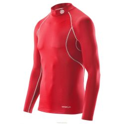 Skins T-Shirt CARBONYTE THERMAL Long Manche BASELAYER TOP WITH MOCK NECK Rouge