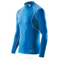 Skins T-Shirt CARBONYTE THERMAL Long Manche BASELAYER TOP WITH MOCK NECK Bleu