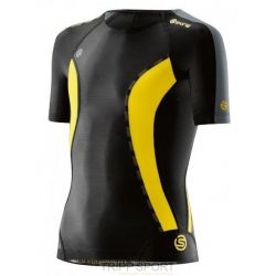 Skins DNAMIC YOUTH TOP SHORT SLEEVE - BLACK/CITRON