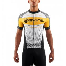 Skins Maillot de cyclisme MENS S/S JERSEY PROMO BLACK/YELLOW/WHITE