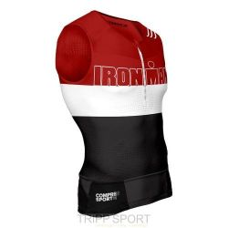 Compressport Maillot de compression Triathlon TR3 Tank TOP Ironman Stripes Rouge