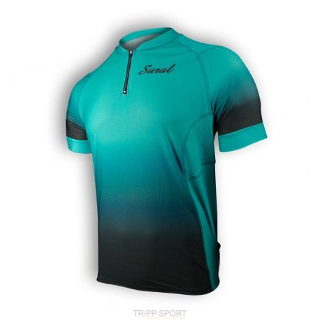 T-Shirt TRAIL / RUNNING Manches courtes ZIPPER III CoolPlus turquoise