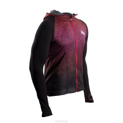 Compressport Casual Seamless Veste à capuche Swim Bike Run veste – Hoddie Triathlon Unisexe avec capuche rouge / Noir