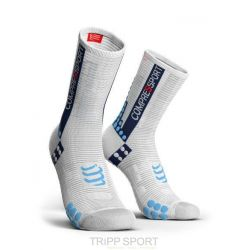 Compressport PRORACING SOCKS V3.0 (PRS V3) - VELO BLANC / BLEU