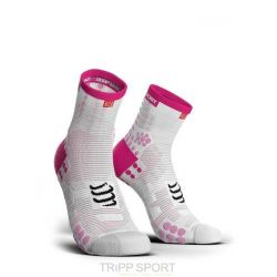 Compressport PRORACING SOCKS V3.0 (PRS V3) - RUN HIGH BLANC / ROSE