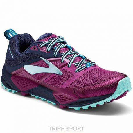 Brooks CASCADIA 12 - Femme - PLUM NAVY ICE BLUE - CHAUSSURES DE COURSE