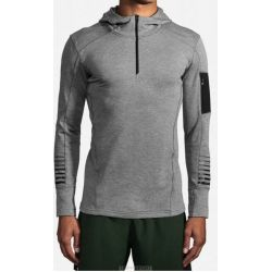 Brooks NOTCH THERMAL HOODIE- GRIS- HOMME